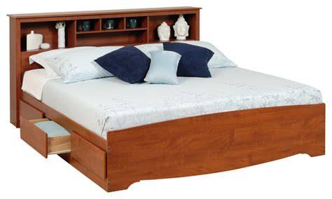 prepac monterey king platform storage bed with bookcase headboard in cherry modern platform