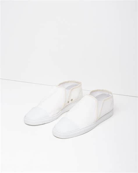 lemaire canvas slip on shoes in white lyst
