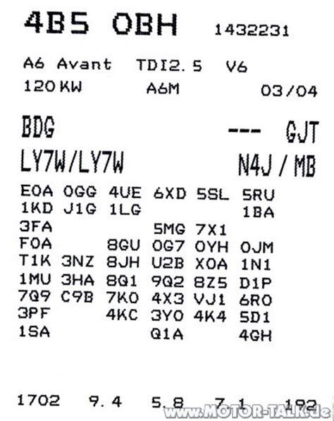 Vw Motorcode Aufkleber by Serviceheft Aufkleber 01j Multitronic Getriebe