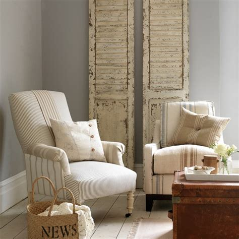 upholstered armchairs living room neutral living room with ticking armchair housetohome co uk