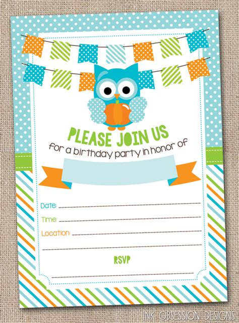 printable birthday invitations with owls ink obsession designs new pumpkin owls printable