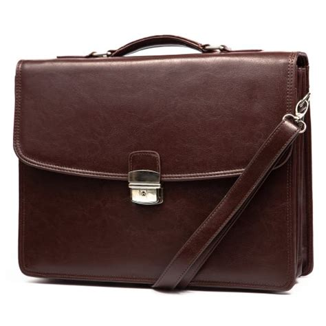 Classic Professional Men's Leather Briefcase Messenger Bag (Coffee Brown)   Men's Leather Briefcases