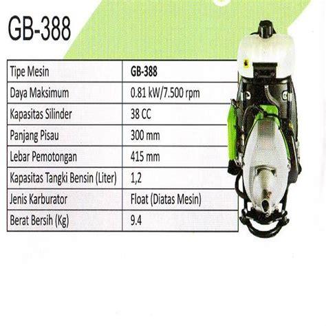 Jenis Pisau Mesin Potong Rumput Gendong harga jual green gb 388 mesin potong rumput gendong