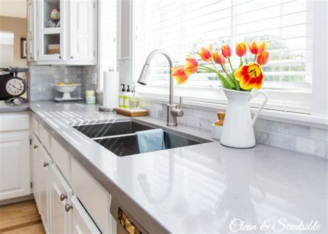 How To Clean Kitchen Countertops Organizing The Kitchen Sink Clean And Scentsible