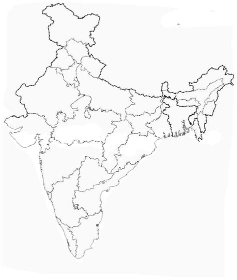 An Outline Political Map Of India by Outline Map Of India Engross In