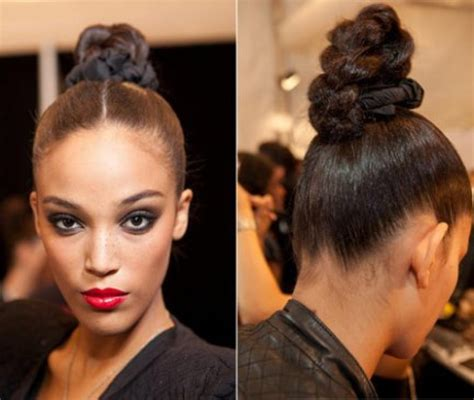 black braids bun hairstyles hair braided into a bun for black women short hairstyle 2013