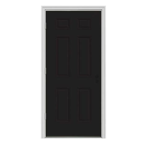 Home Depot White Interior Doors Jeld Wen 32 In X 80 In 6 Panel Black Painted W White Interior Steel Prehung Right