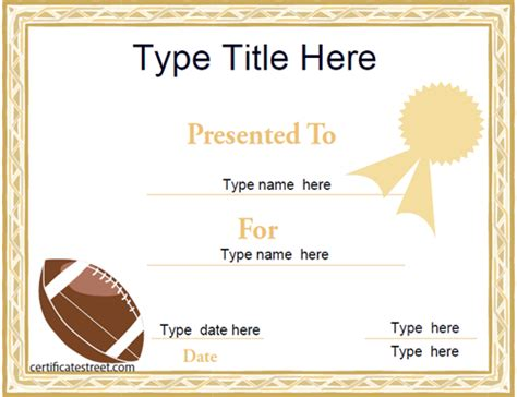 football certificates templates certificate free award certificate templates no