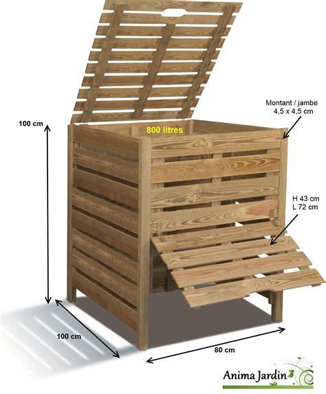 composteur de jardin en bois 800 litres en pin trait 233 autoclave burger pas cher