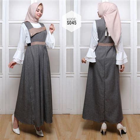 Set Overall Crisso Lb7217gamis Maxi Cantik set overall s045 baju style ootd