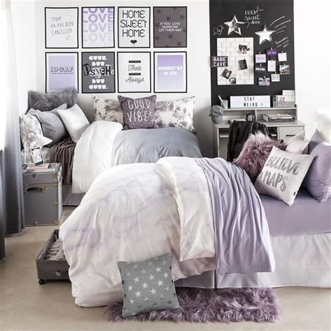 Preppy Decorative Pillows Lavender Marble Duvet Cover And Sham Set Dormify