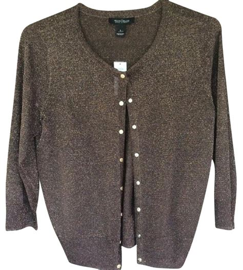 white house black market cardigan white house black market brown gold whbm cardigan size 12 l tradesy