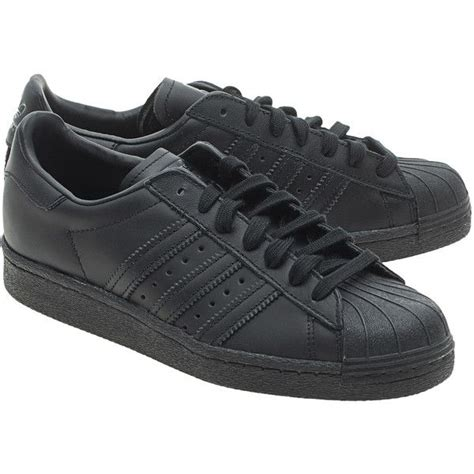 adidas originals superstars 80s black flat leather sneakers 109 liked on polyvore
