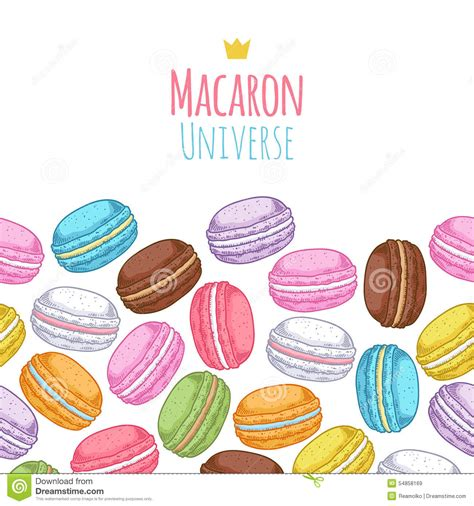cute macaron pattern seamless assorted macarons horiaontal pattern stock vector