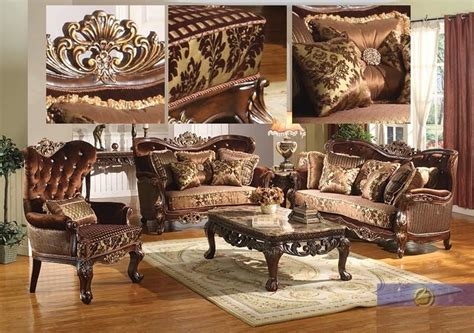 Antique Furniture Living Room Formal Traditional Sofa Set 2 Pc Antique Sofa Loveseat Living Room Furniture Ebay