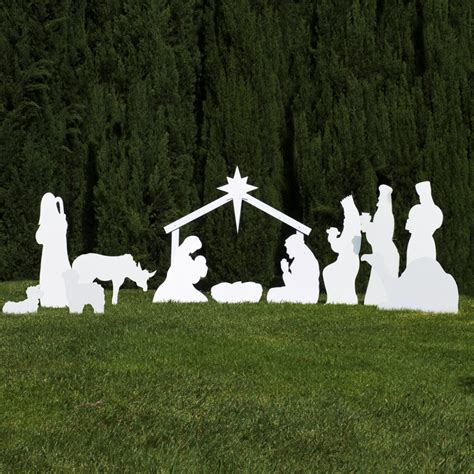 silhouette outdoor nativity set full scene outdoor