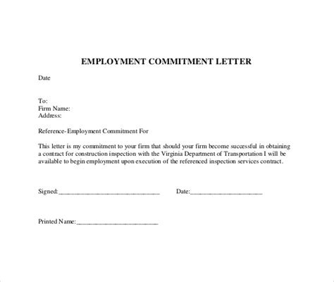 Employment Commitment Letter Format Sle Commitment Letter Template 6 Free Documents In
