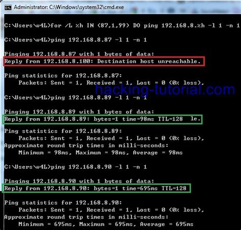 tutorial hack cmd basic command prompt for looping to find live ip address