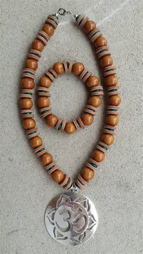 chunky wooden bead necklace chunky wooden bead necklace and bracelet with leather