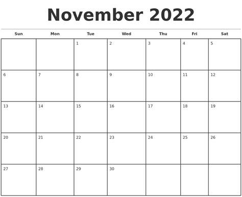 November 2022 Monthly Calendar Template