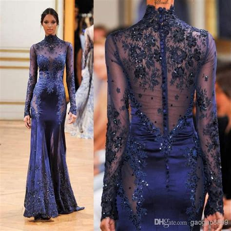 vintage 2016 navy blue lace fashion high neck sleeve muslim evening dress 2016