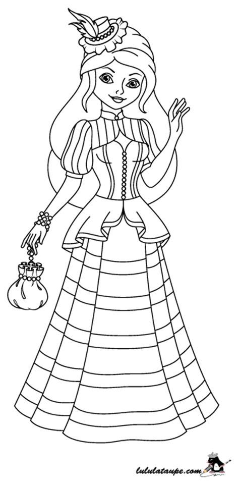 Coloriage, une princesse en robe longue, chapeau et bourse