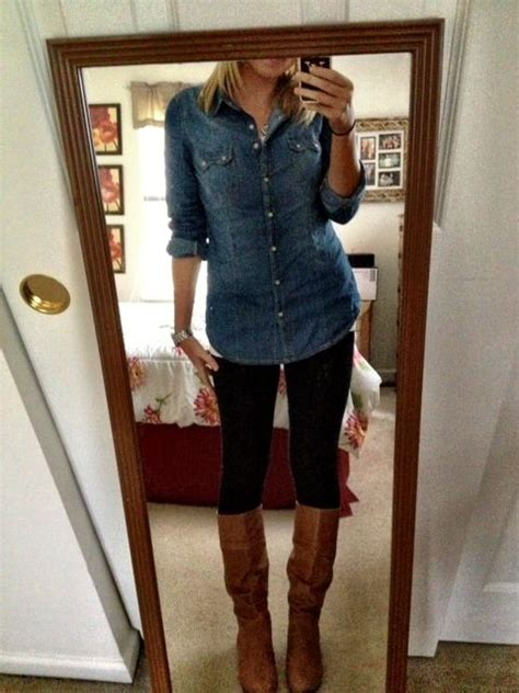 jean shirt leggings   pair  boots perfect