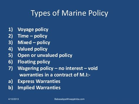 Mba Finance Type Of by Marine Insurance Ppt Mba Finance