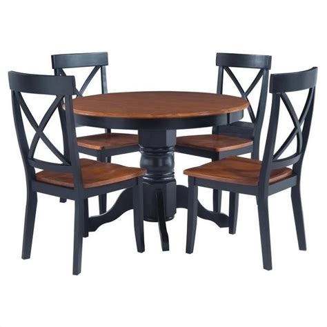 dinner table set 5 piece round pedestal dining set in cottage oak 5168 318