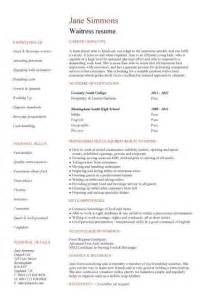 Waitress Exle Resume by Student Entry Level Waitress Resume Template