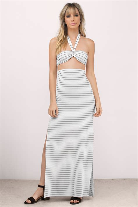White Black Maxi trendy white black maxi dress white dress striped