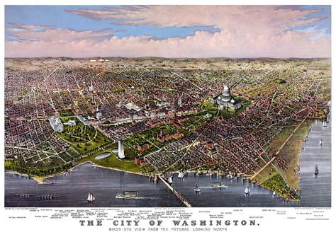 birds eye view maps city of washington antique currier and ives 1880 birds eye view map painting by currier and ives
