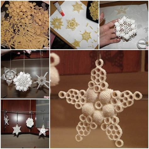 maccaroni christmas decorations pasta snowflake ornament pictures photos and images for