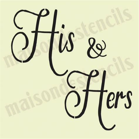 His And Hers His And Hers Wedding 12x12 Stencil