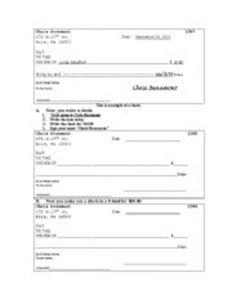 How To Write A Check Worksheet Worksheets Check Writing