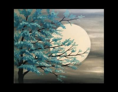 paint nite akron teal tree in moonlight presented by paint nite akron the