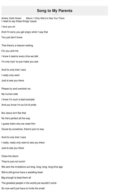 song to song to my parents lyrics keith green