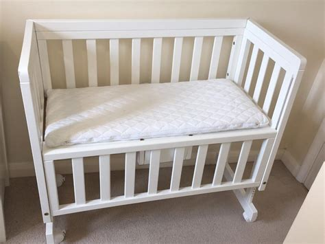 Bed Side Crib Lewis Troll Bedside Crib Co Sleeper Cot White Mattress 2 Sheets In Guildford