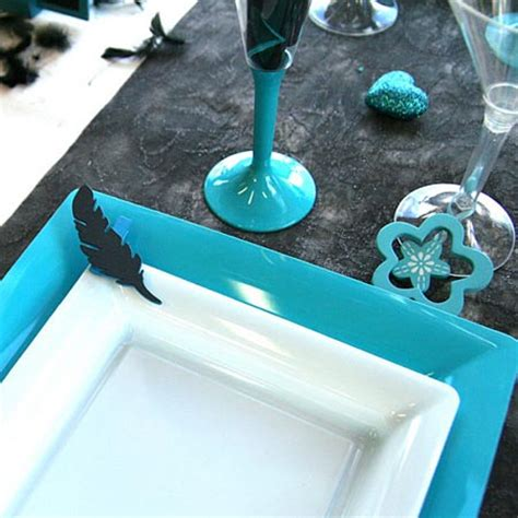 Ideas For Turquoise Table Ls Design Feathers And Hearts Dinner Table Decorations Black And Turquoise Colors