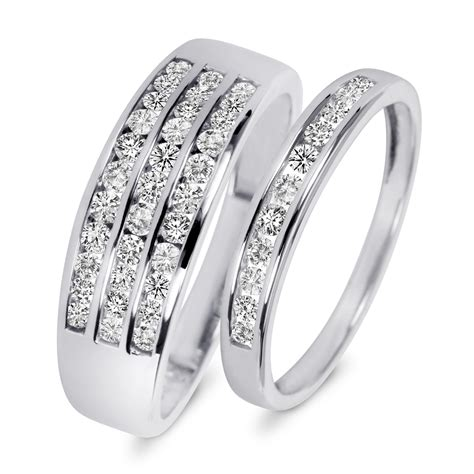 His And Hers Wedding Rings by 7 8 Carat T W His And Hers Wedding Rings 10k