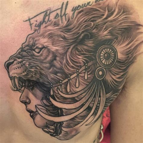 girl lion tattoo designs on shoulder