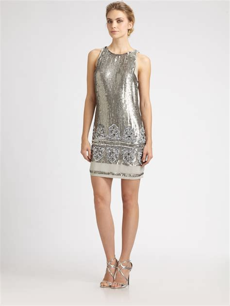 silver beaded dress aidan mattox beaded sequined dress in silver lyst
