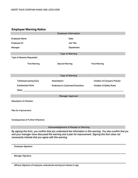 10 Best Images Of Printable Warning Templates Employee Warning Notice Form Template Free Employee Written Warning Template Free