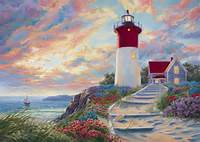 Lighthouse At Sunset Is A Painting By Lucie Bilodeau Which Was