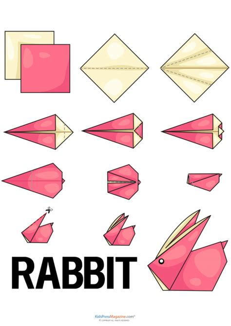 Beginner Origami Animals - easy origami rabbit kidspressmagazine