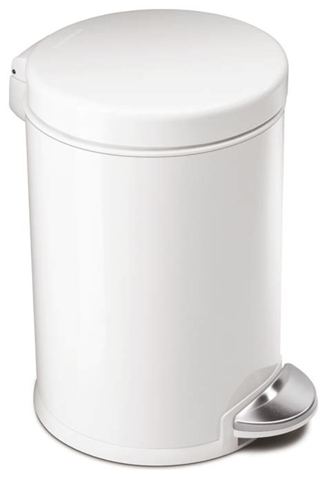White Kitchen Trash Can by Step Can White Steel Modern Trash Cans By