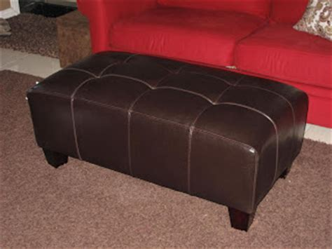 sullivan leather rectangular ottoman pottery barn on a budget mock pb sullivan leather
