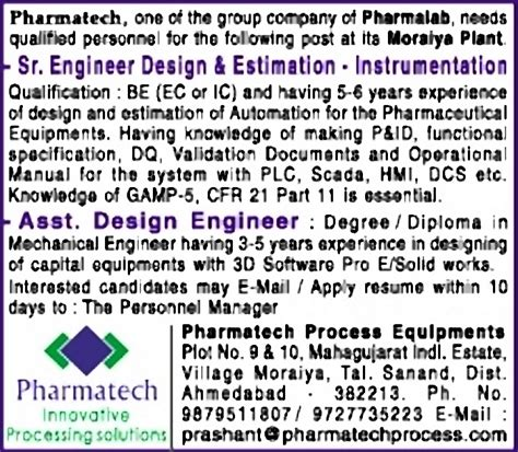 design engineer job in ahmedabad job senior engineer design estimation