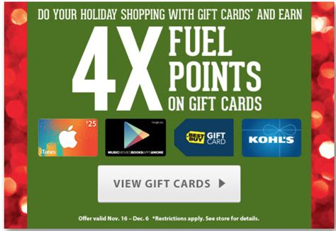 Holiday Gas Station Gift Cards - 4x fuel points on gift cards at kroger is back in time for holiday fill up points