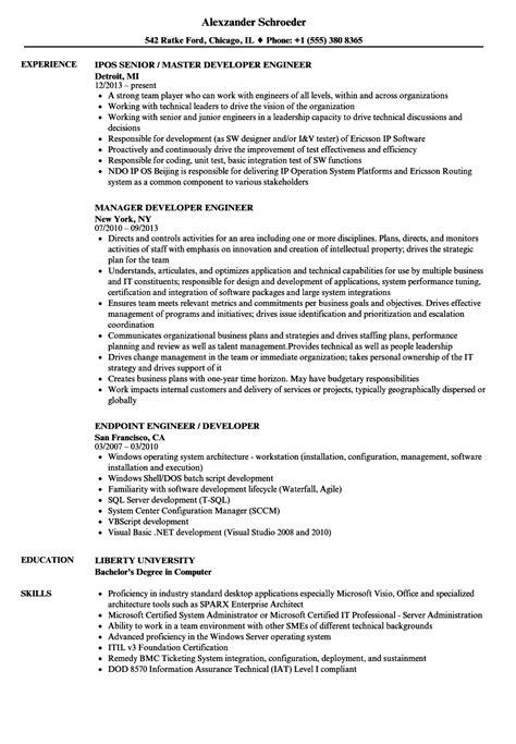 developer engineer resume sles velvet
